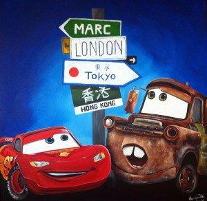 Cuadro infantil Cars pintado a mano de La que pinta