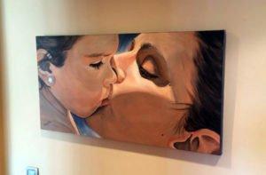 Cuadro retrato moderno decorativo de madre e hijo pintado a mano por La que pinta en Barcelona