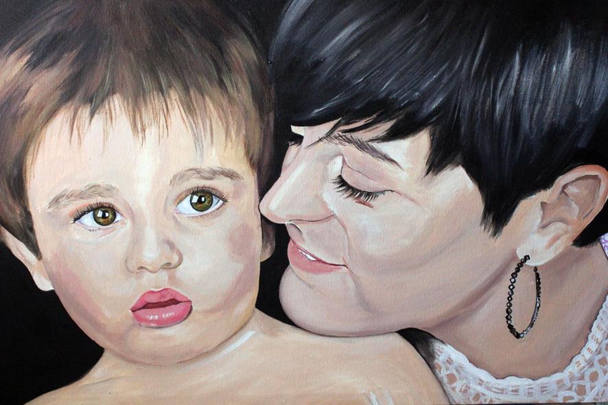 Cuadro retrato madre e hijo