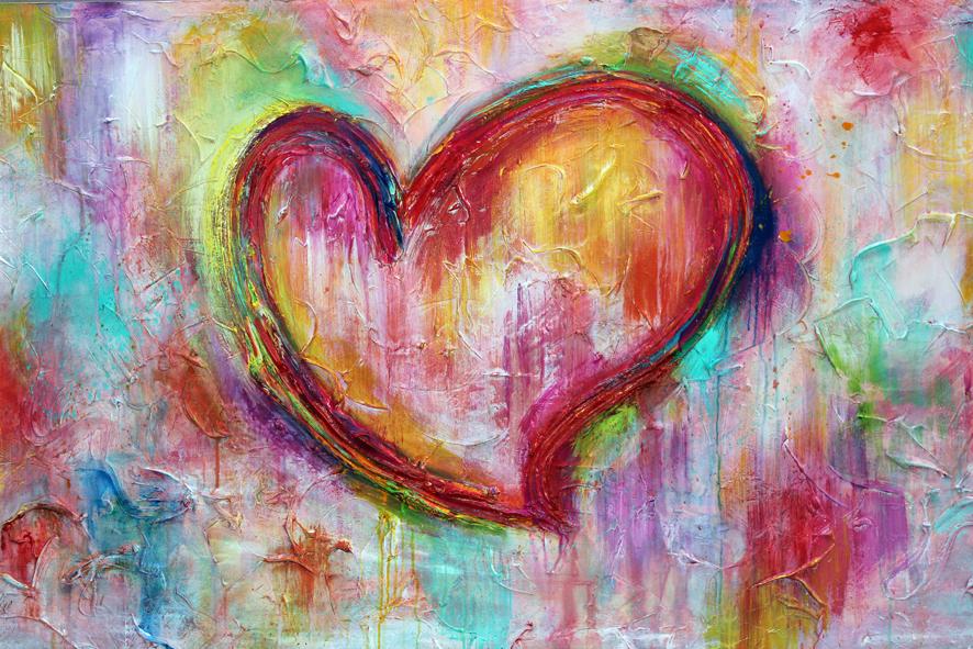 Cuadro moderno decorativo corazón multicolor