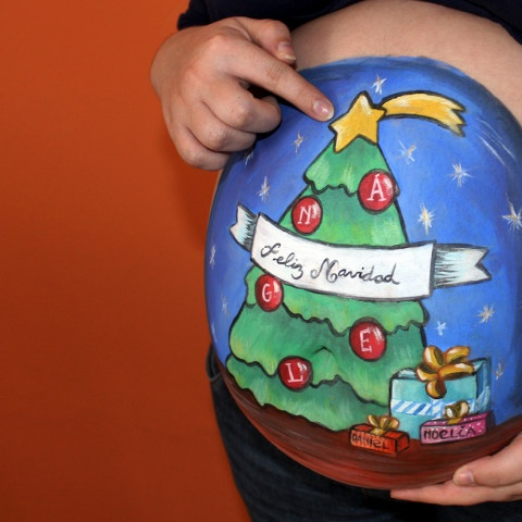 Belly painting navideño