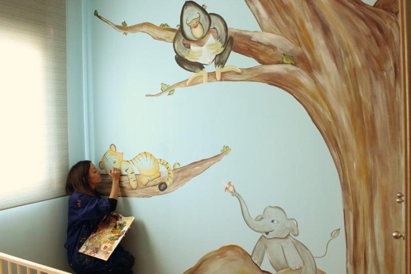 mural_infantil_unisex_pintado_a_mano_la_que_pinta_selva_animales_tigre_gorila_elefante (15)