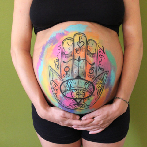 Belly painting Hamsa 100% personalizada