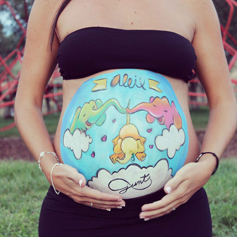Belly painting familia de elefantes