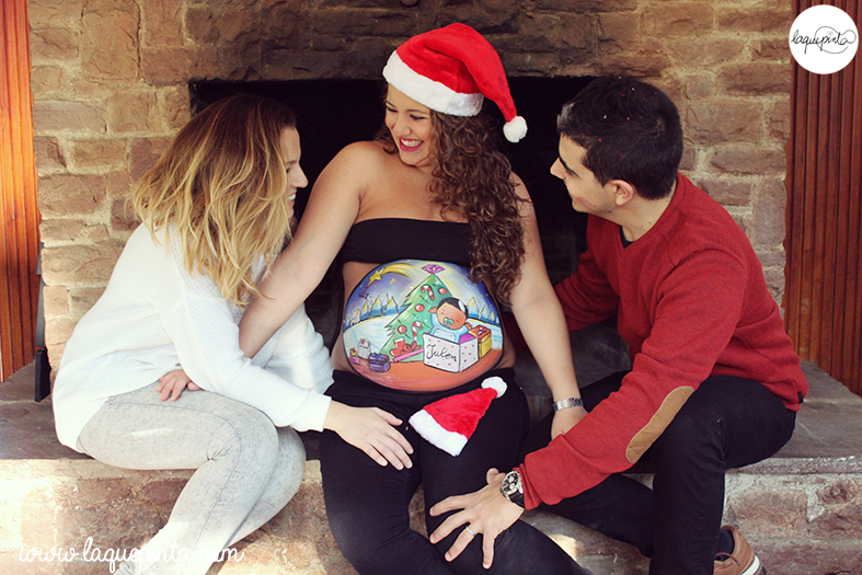 Belly painting navideño en familia