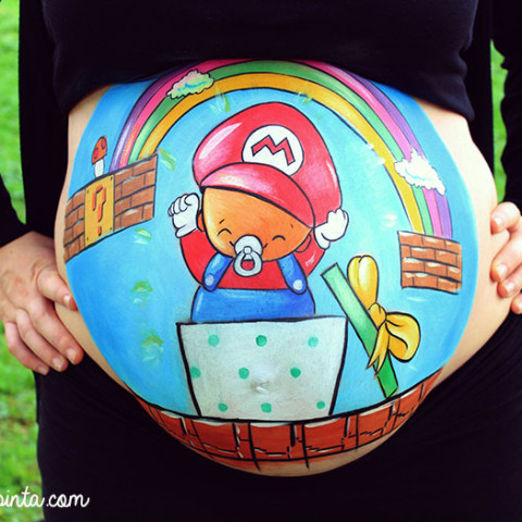 Belly painting Súper Mario Bross