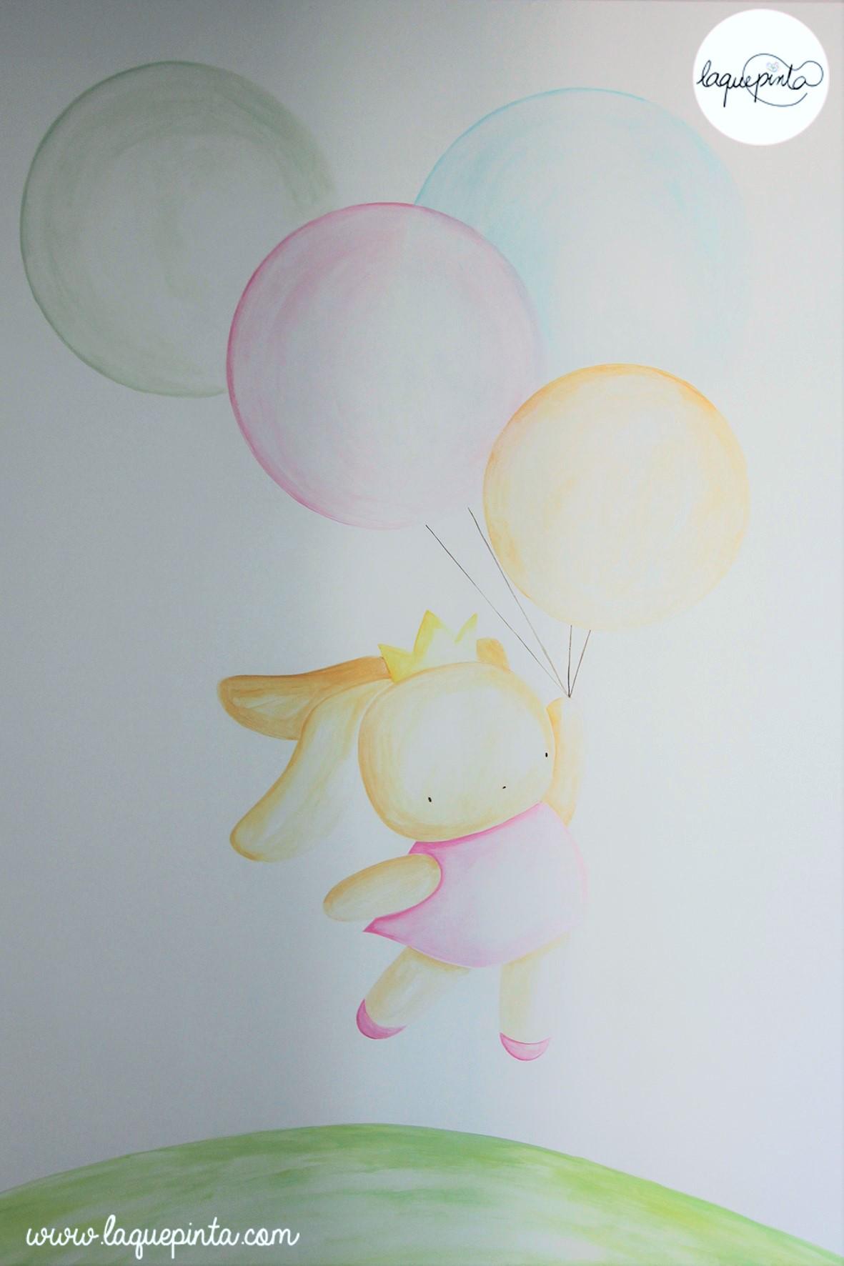 Mural infantil conejita con globos de colores