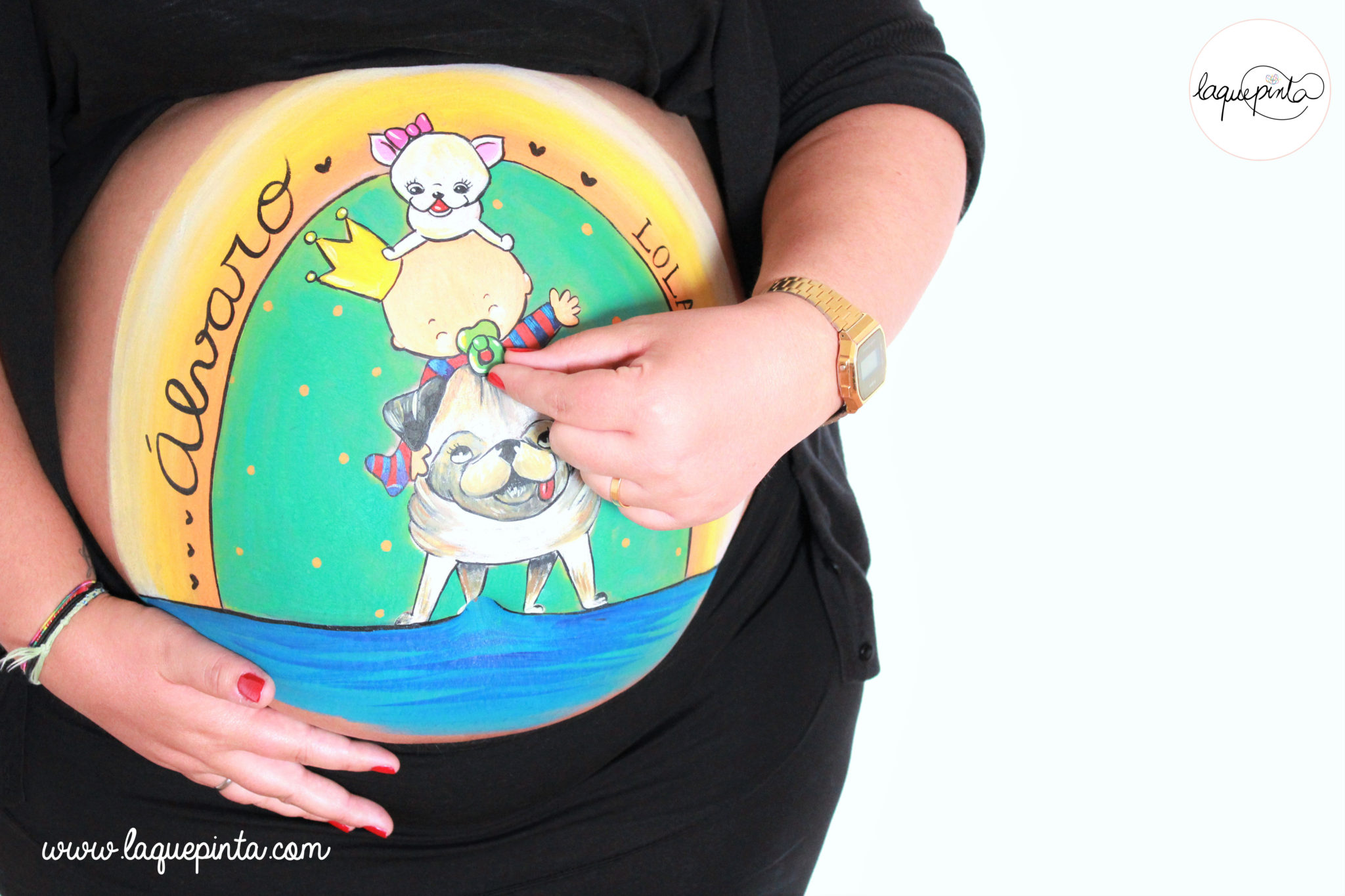 Belly painting con las princesas de la casa