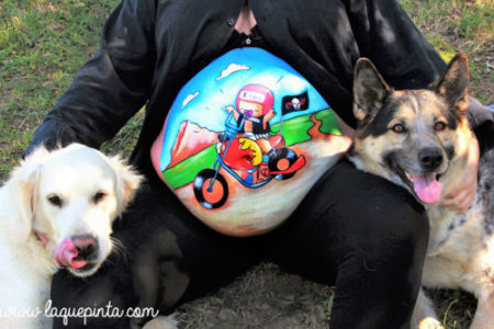 Belly painting bebé con Harley