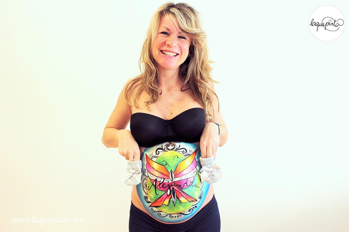 Belly painting mariposa estilo tatoo