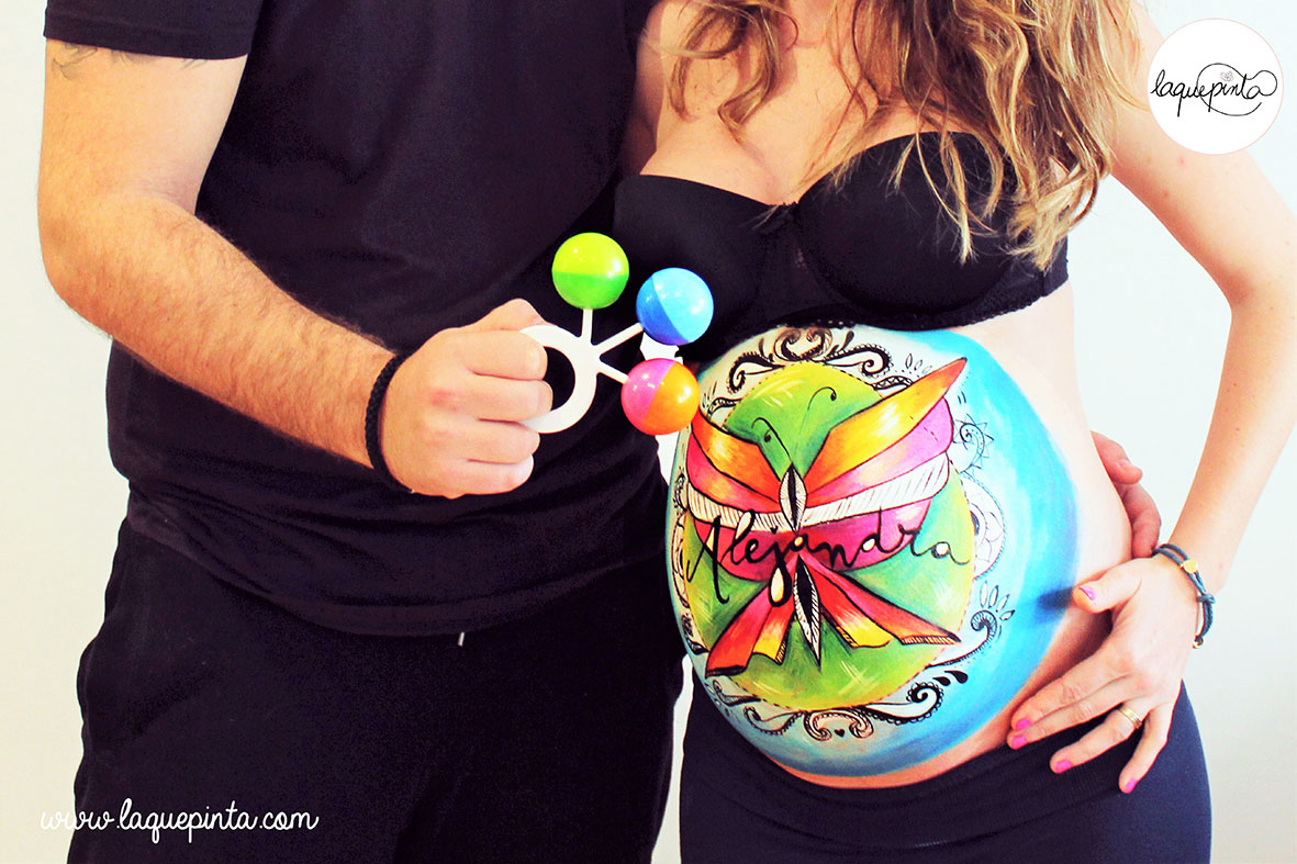 Belly painting mariposa estilo tatoo