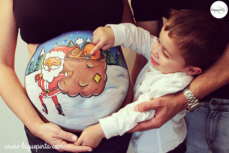 Belly painting Papá Noel & TV3