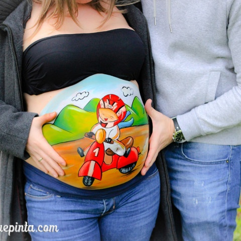 Belly painting bebé en VESPA