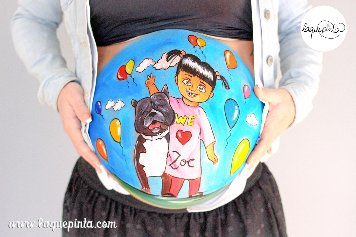 Belly painting Bu, perrito y globos