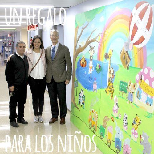 Cuadros infantiles pintados a mano por La que pinta Barceloa con animales animados jugando, leyendo y banándose en un arcoiris.