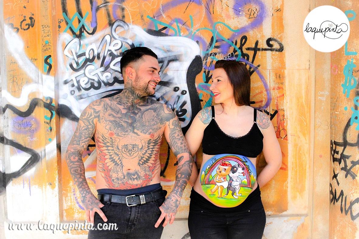 Belly painting perrito y bebé tatoos