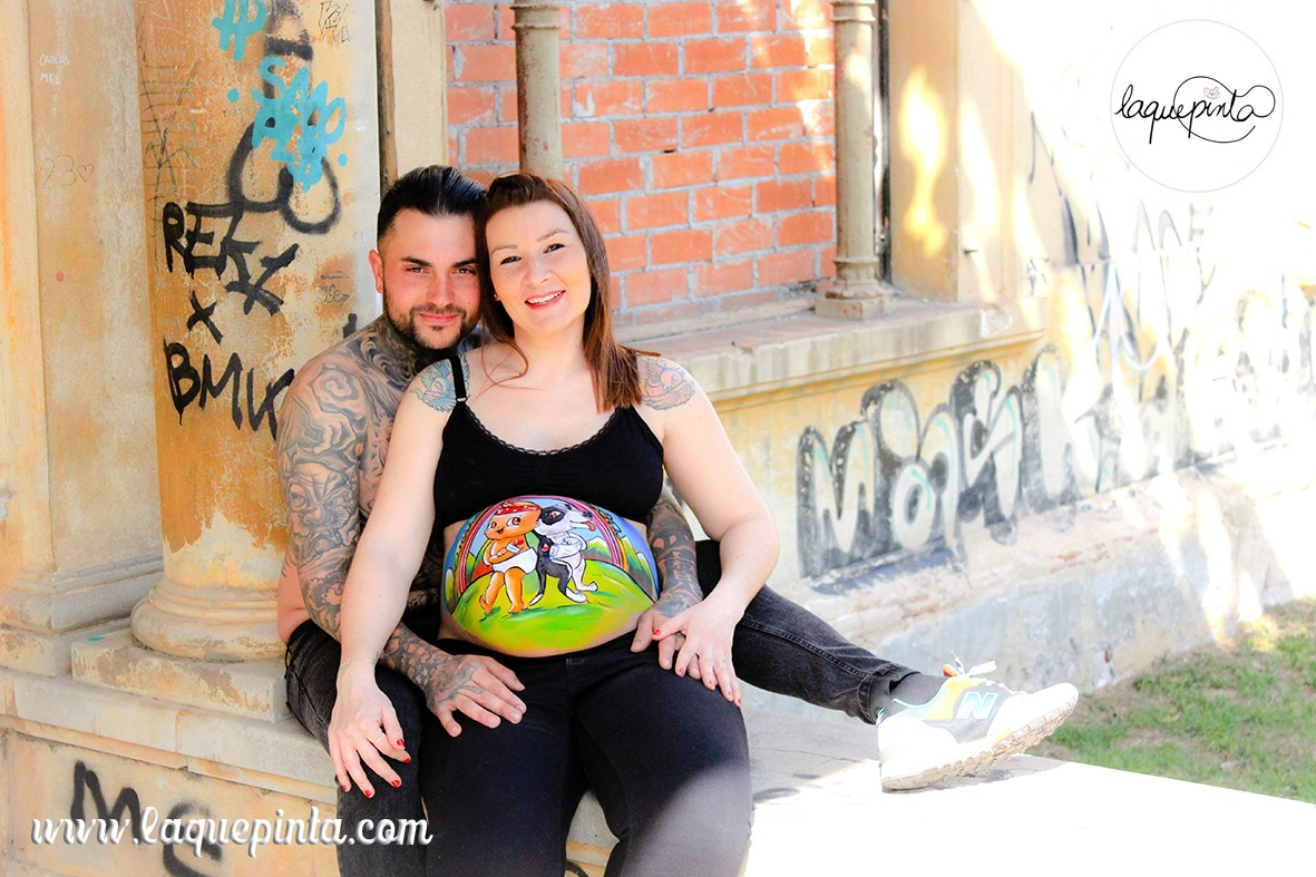 Belly painting perrito y bebé tatoos
