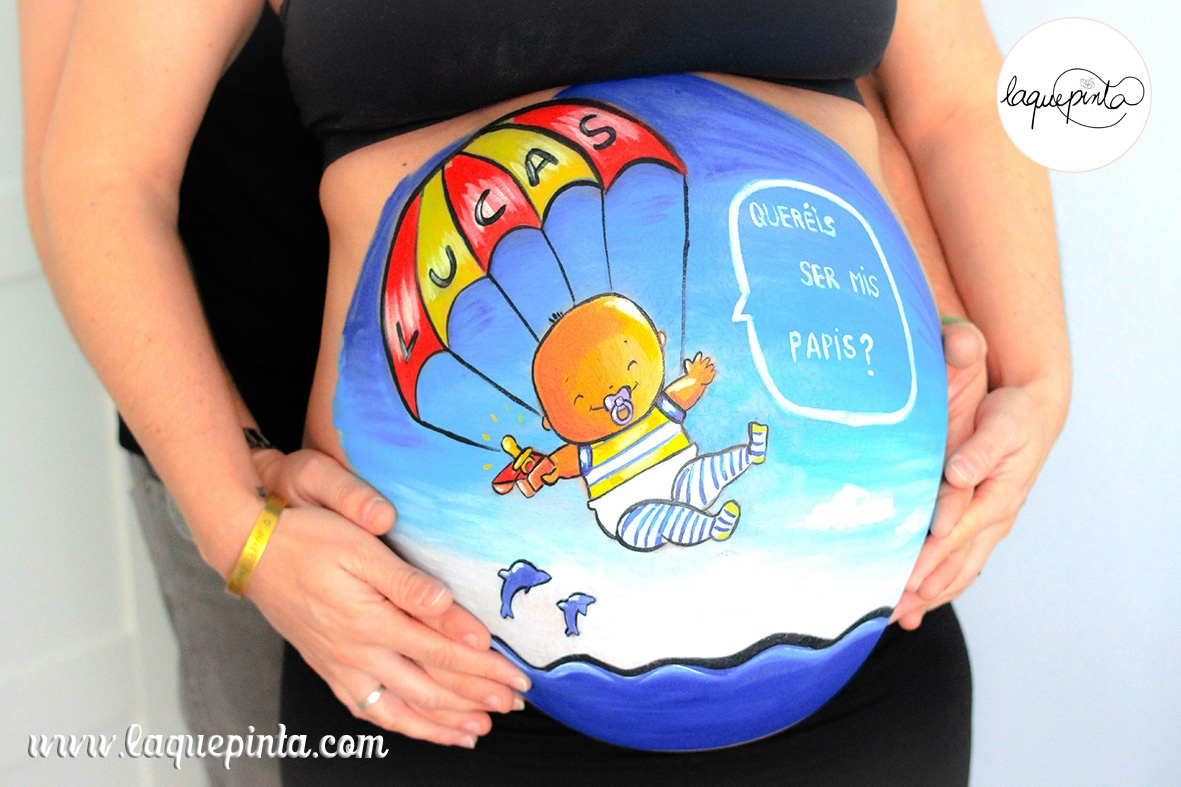 Belly painting bebé paracaidista