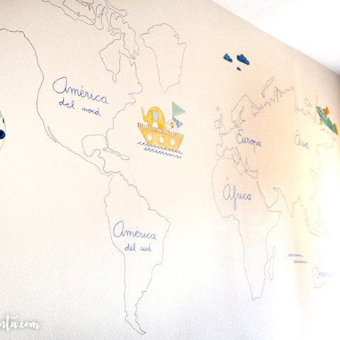 Mural infantil mapamundi