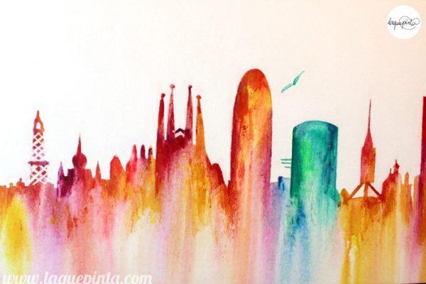 Cuadro skyline Barcelona multicolor acuarelado