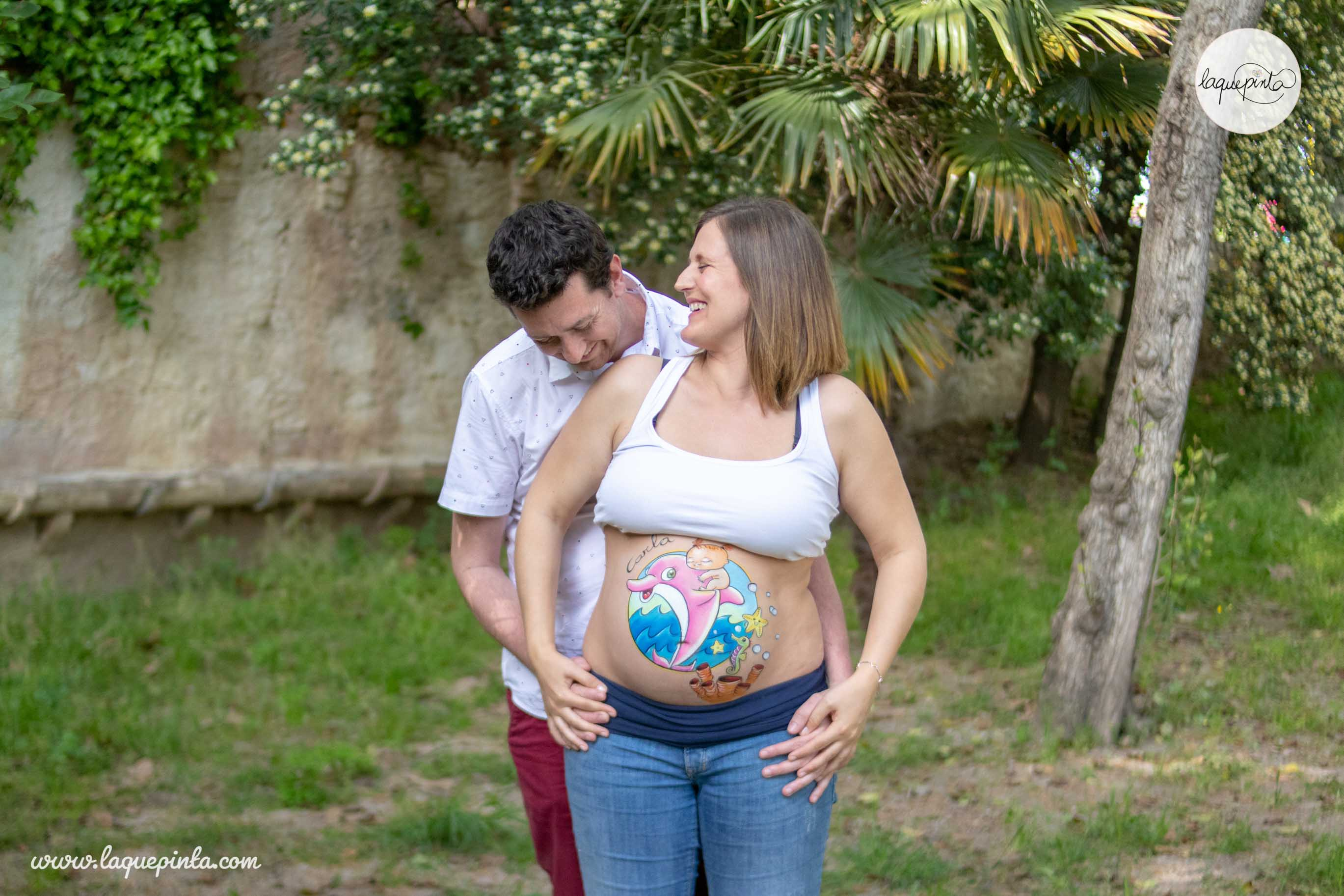 Belly painting delfín rosa