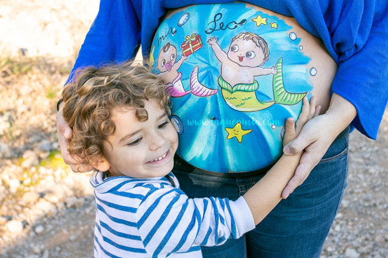 Niña y niño sirenas Belly Painting Barriga Pintada Barcelona