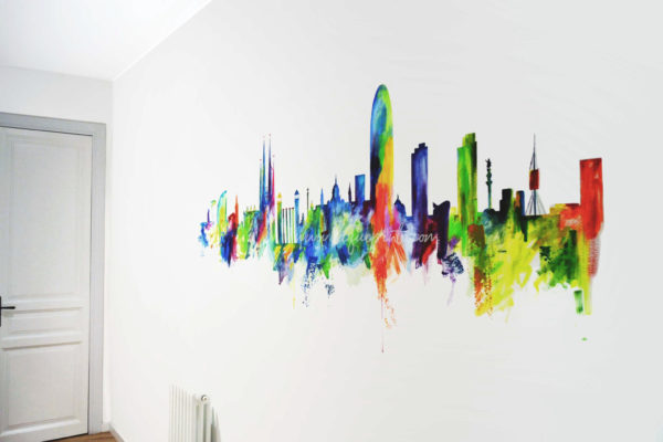 Mural decorativo skyline Barcelona