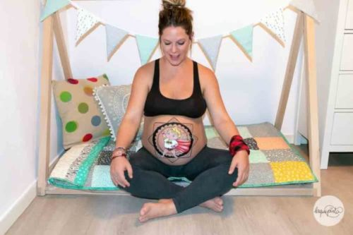 Belly painting Batman Mandala