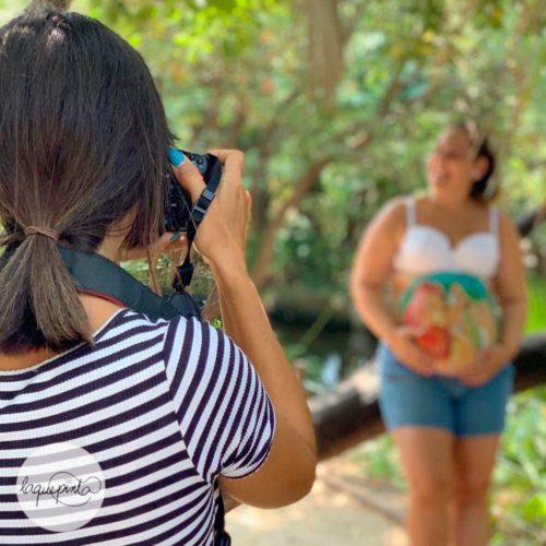 barriga pintada con sesión de fotos del embarazo y video del making off del maquillaje