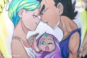 Belly Painting Bulma y Vegeta Barriga Pintada Barcelona Belly painting 100% personalizado