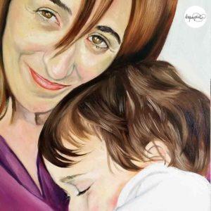 Cuadro retrato pintado a mano por La que pinta BCN